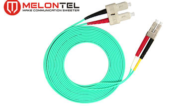 China Green SC LC Patch Cord 3.0mm Diameter , Duplex OM3 Pigtail Multi Mode factory