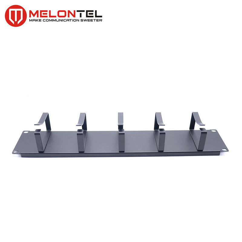 2U Black  Data Patch Panel 19 Inch Type Cable Manager With 5 Metal Ring supplier